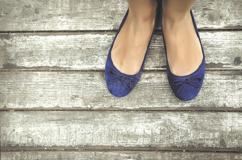 Blue shoes stock images