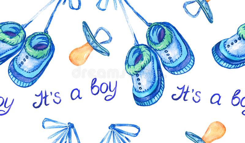 Blue shoes hanging on lace, pacifiers, inscription it`s a boy, hand painted watercolor illustration, seamless pattern vector illustration