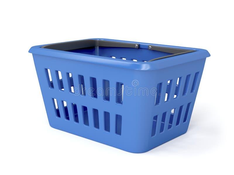Blue shopping basket. On white background vector illustration