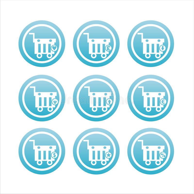 Download Blue Shopping Baskets Signs Stock Vector - Illustration of shopping, stylish: 20391543