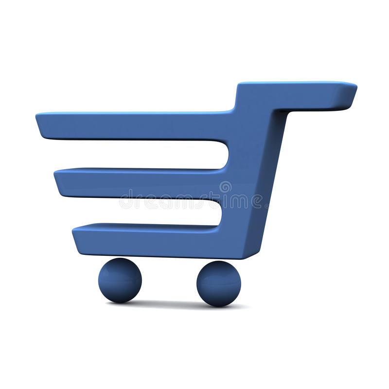Blue Shopping Cart Icon 3d stock illustration