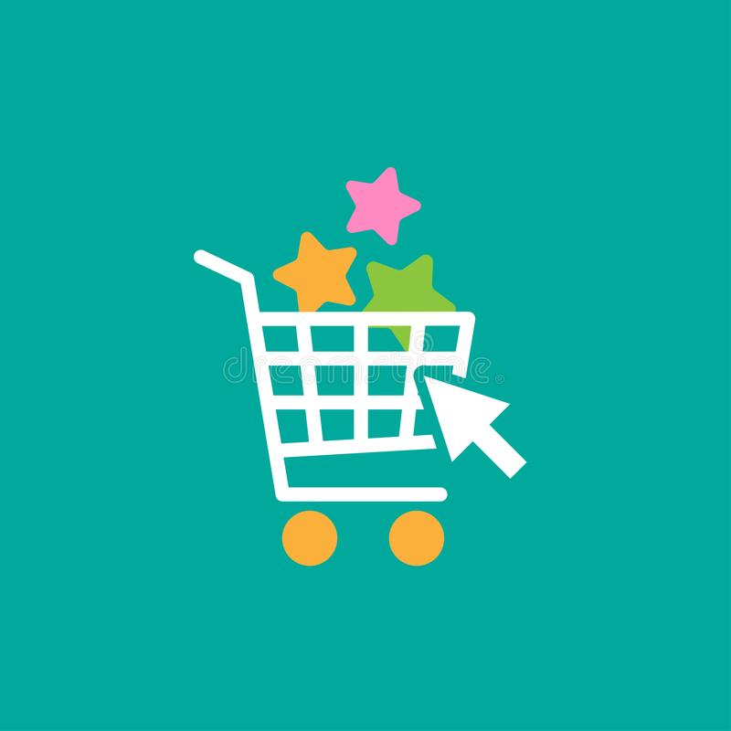 Blue shopping cart with stars and cursor arrow. simple icon on blue background. Store trolley royalty free illustration