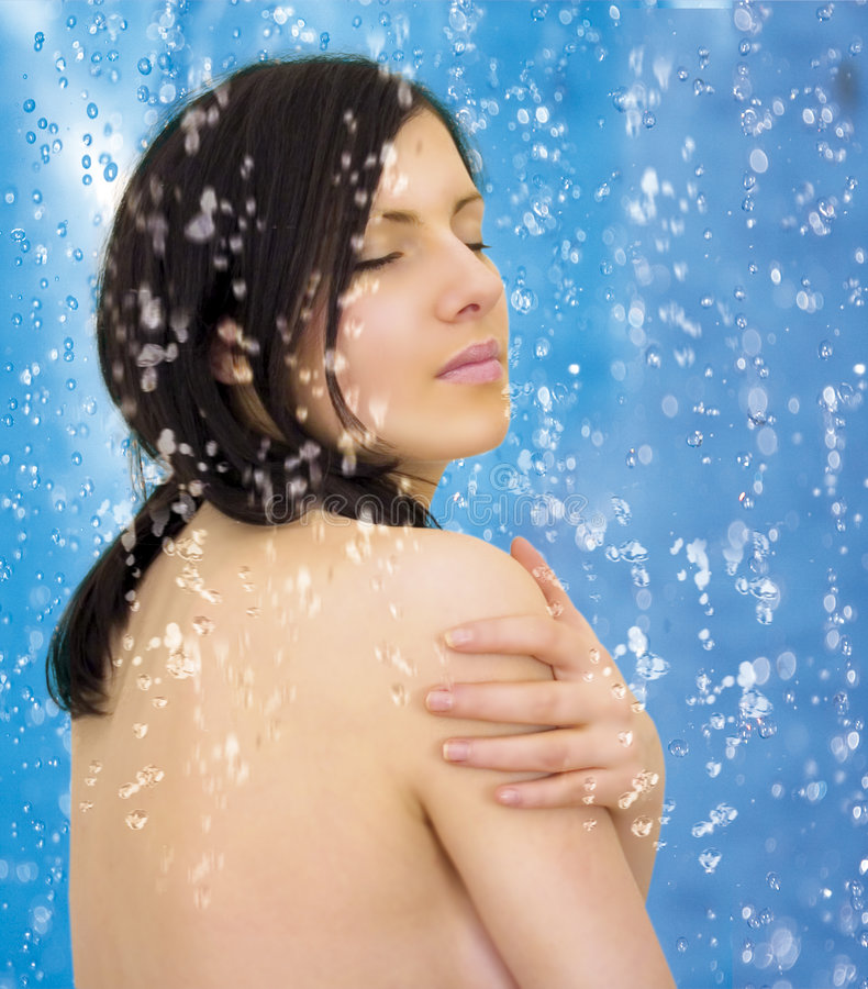 Download Blue shower 2 stock image. Image of relaxing, rain, catching - 2612803