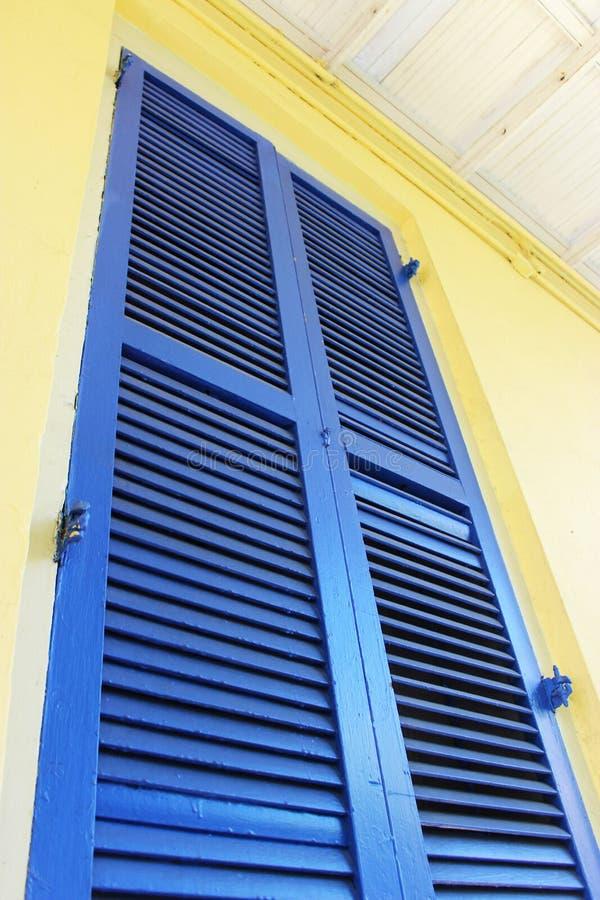 Blue Shutter in French Quarter stock image