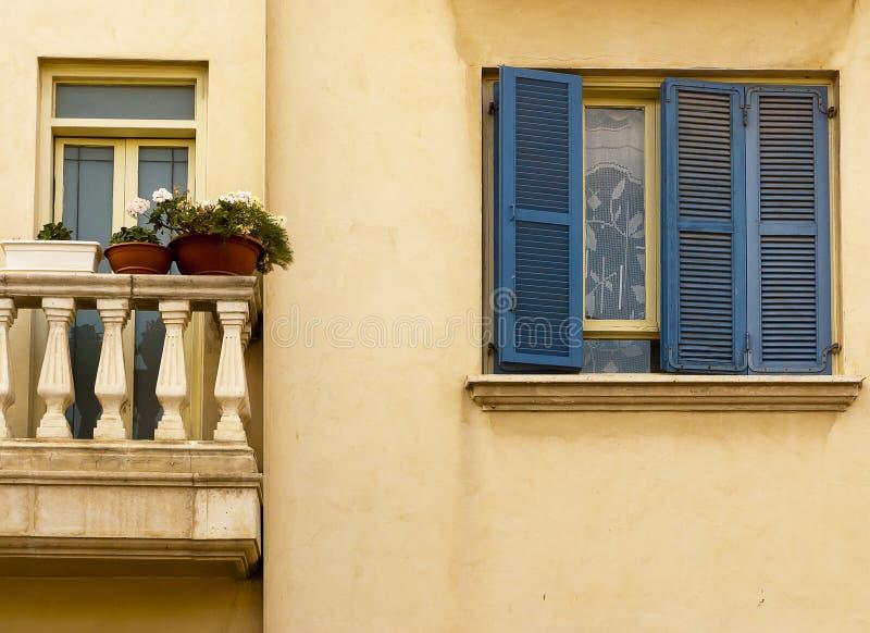 Blue shutter Neve Tzedek stock photo
