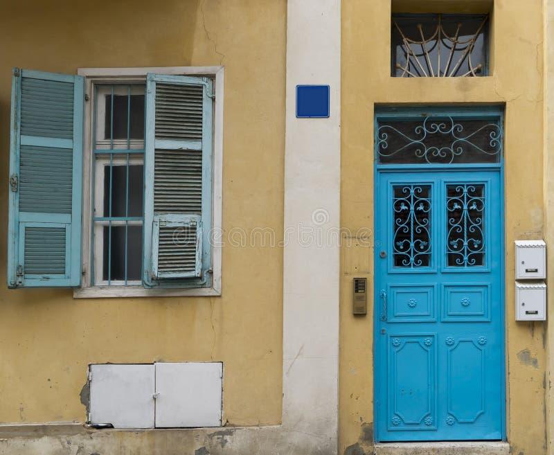 Blue shutters and door Neve Tzedek royalty free stock photos