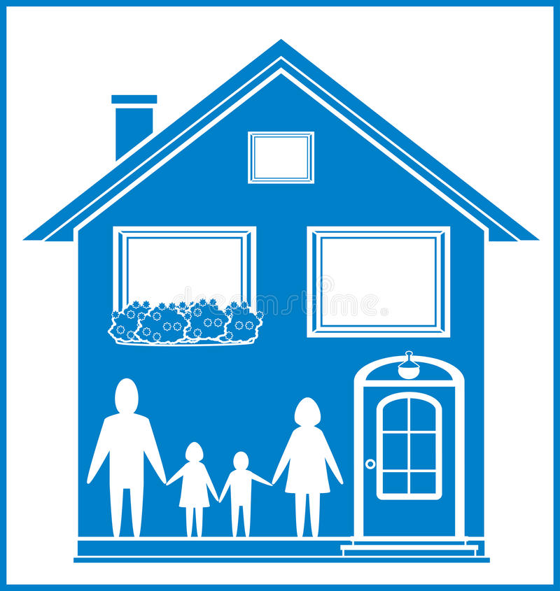 Download Blue Sign With Home And Family Stock Vector - Illustration of dwelling, empty: 29224676
