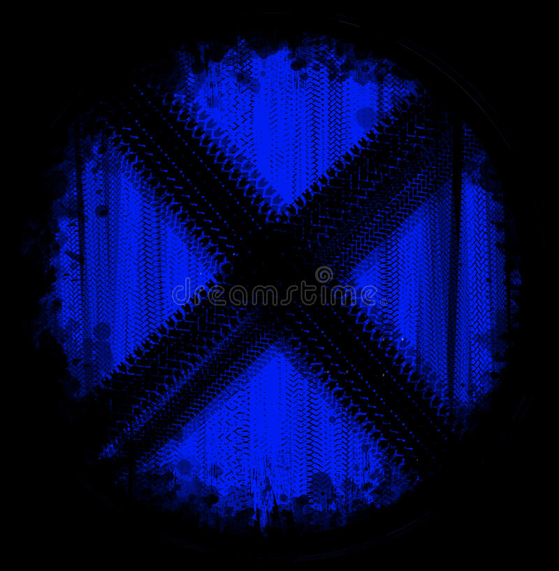 Blue sign tire marks. On a black background royalty free stock photo