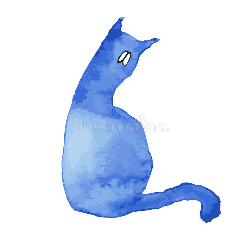 Blue silhouette of a cat with sad eyes. stock photos