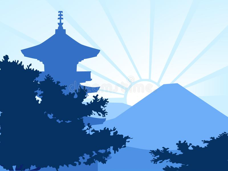 Blue silhouette - Morning light in Japan. Website, banner, card, background stock illustration