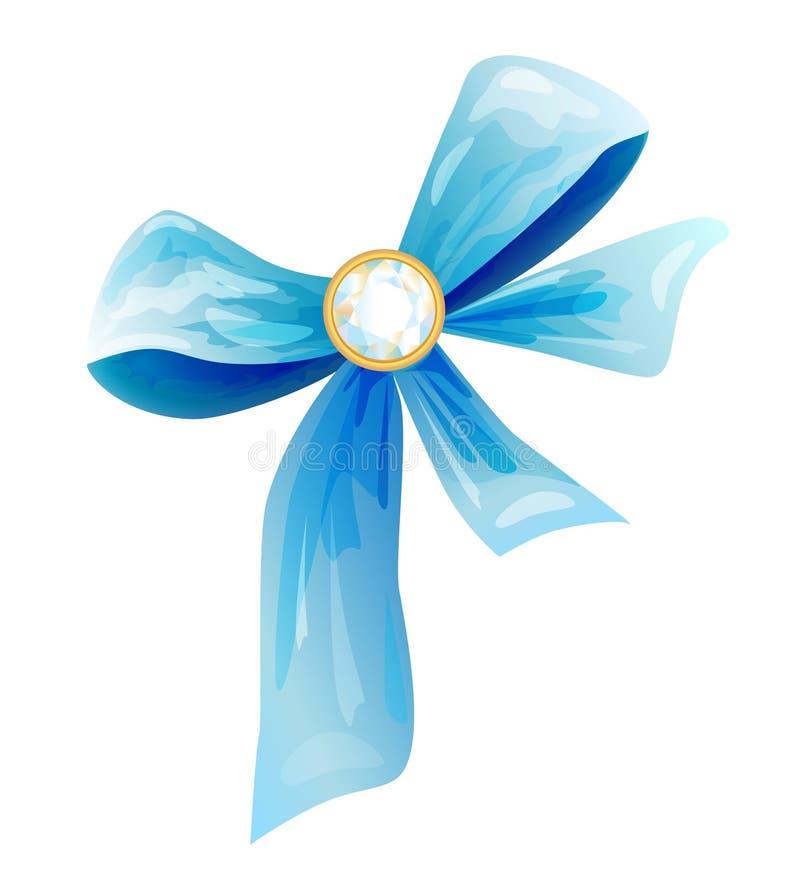 Blue silk bow. With diamond stock illustration