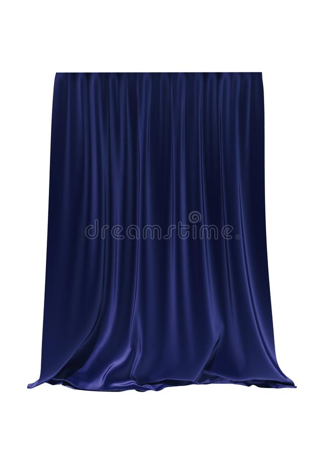 Blue silk curtain isolated on white background. 3d render vector illustration