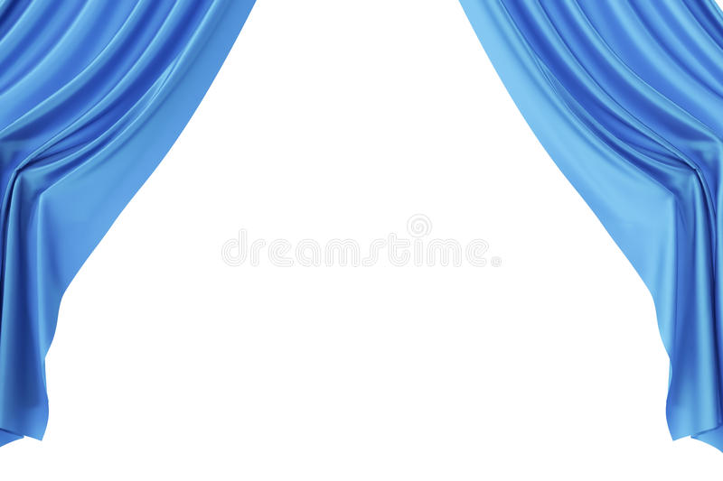 Blue silk curtains for theater and cinema spotlit light in the center. 3d rendering vector illustration
