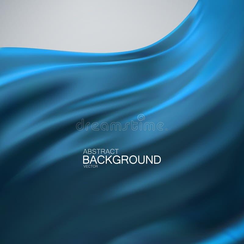 Blue silk fabric. vector illustration