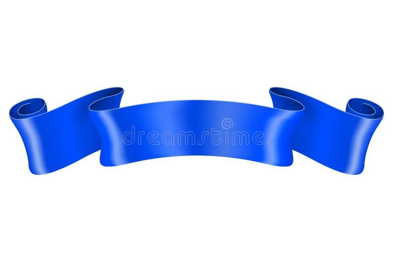 Blue silk ribbon. Vector 3d illustration isolated on white background vector illustration