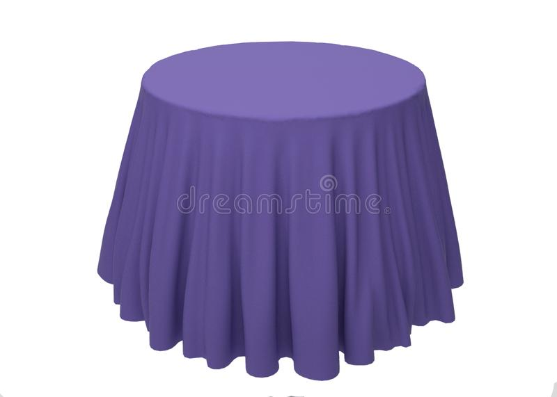 Blue silk tablecloth on a white background, template, mockup for royalty free illustration