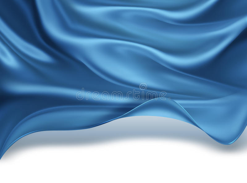 Blue silk waves. Abstract background with blue silk waves stock illustration