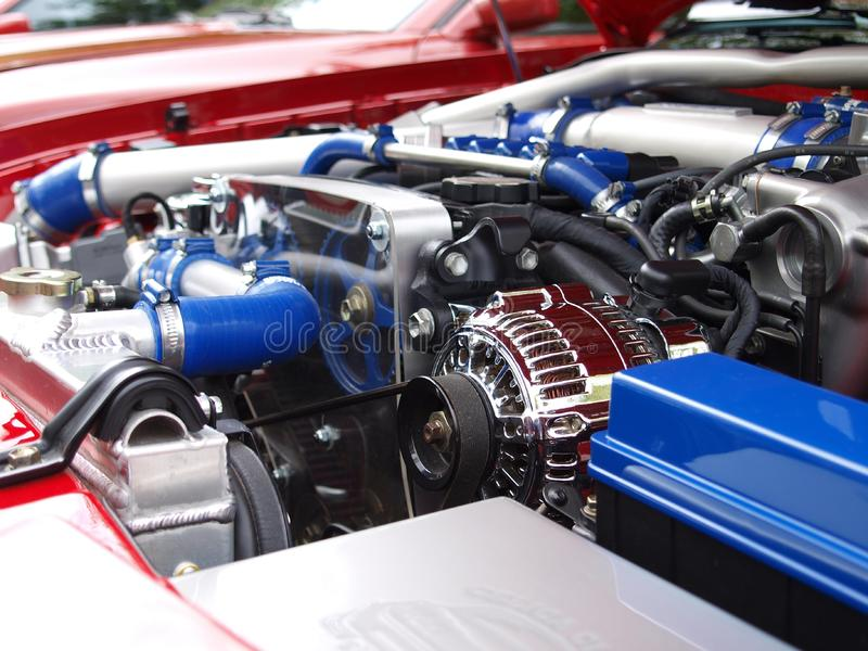 Blue Silver Black Car Engine royalty free stock photos