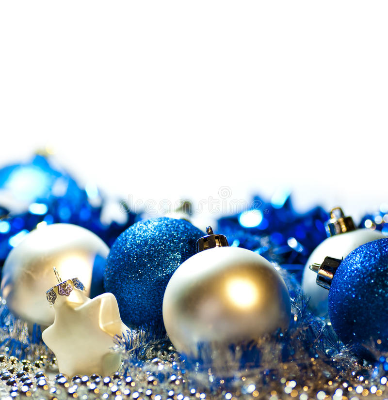 Blue and silver Christmas background. Christmas background with blue and silver ornaments