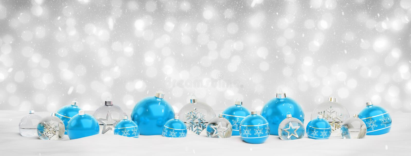 Blue and silver christmas baubles background 3D rendering stock illustration
