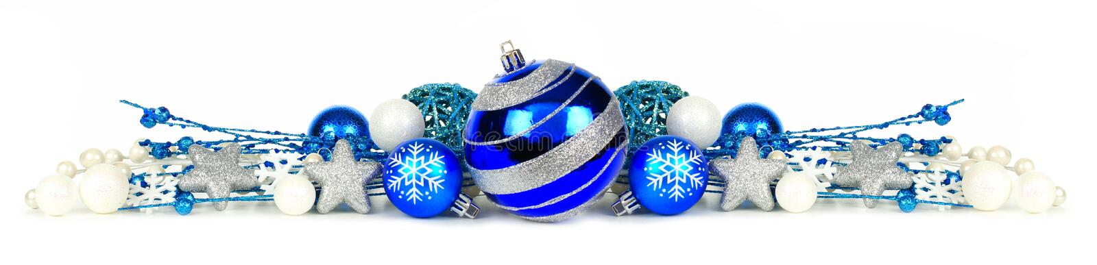 Blue And Silver Christmas Ornament Border Over White Stock Photo ...