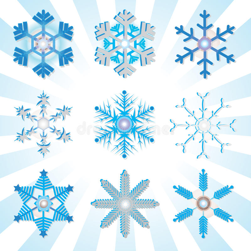 Blue and silver detailed snowflakes variations. Illustration stock illustration