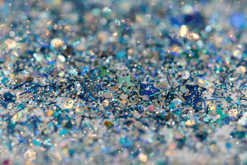 Blue and Silver Frozen Snow Winter Sparkling Stars Glitter background. Holiday, Christmas, New Year abstract texture royalty free stock image