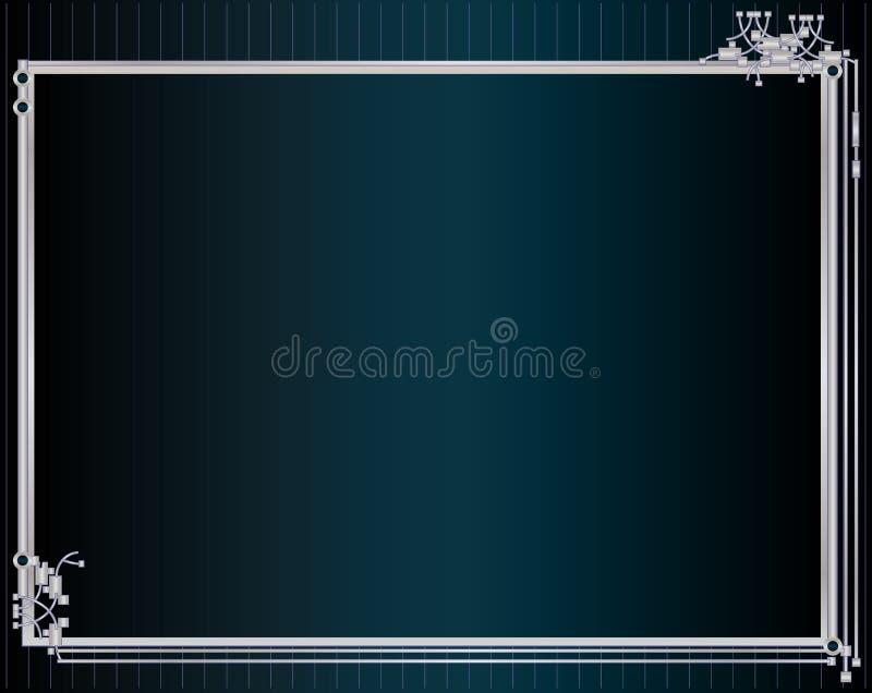 Blue silver metallic frame stock illustration