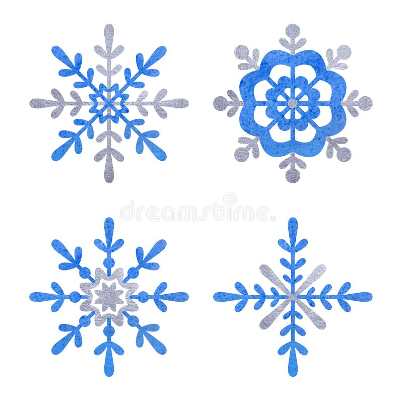 Blue and silver snowfloke watercolor hand painted clipart. stock illustration