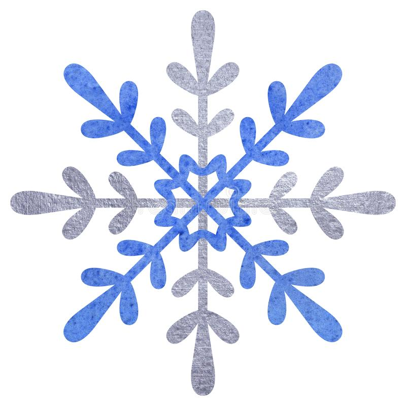 Blue and silver snowfloke watercolor hand painted illustration. vector illustration