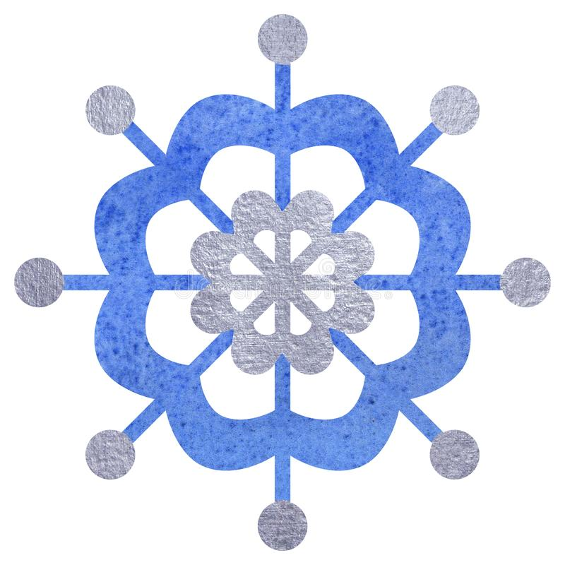 Blue and silver snowfloke watercolor hand painted illustration. stock illustration