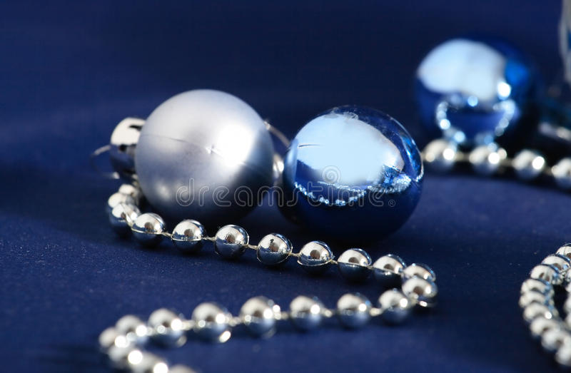 Blue and silver xmas decorations stock photo