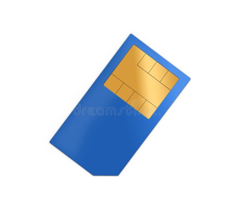 Blue sim card. Isolated on white background royalty free stock photo