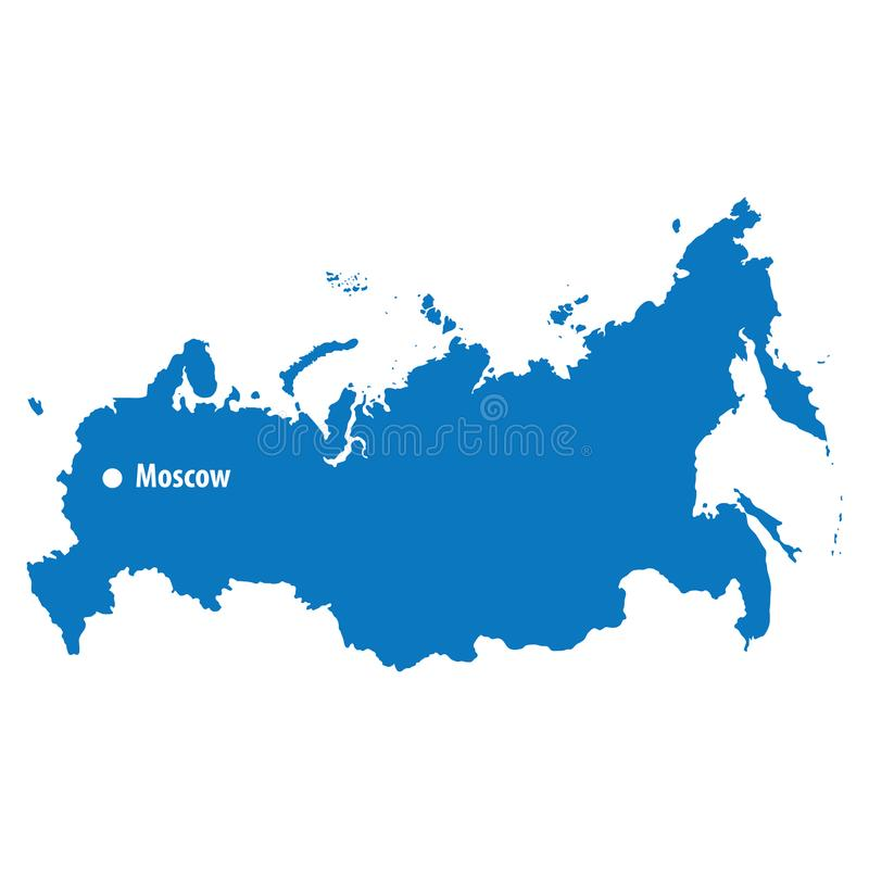 Blue similar russia Vector Map with capital city moscow. flat te royalty free illustration