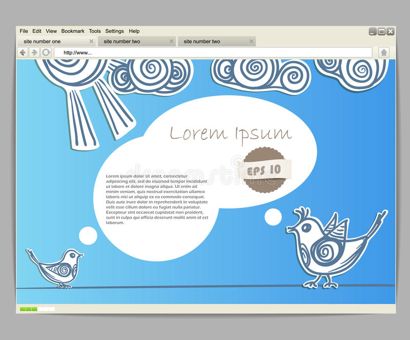 Blue site template with birds. Opened browser window template. Blue site template with birds vector illustration