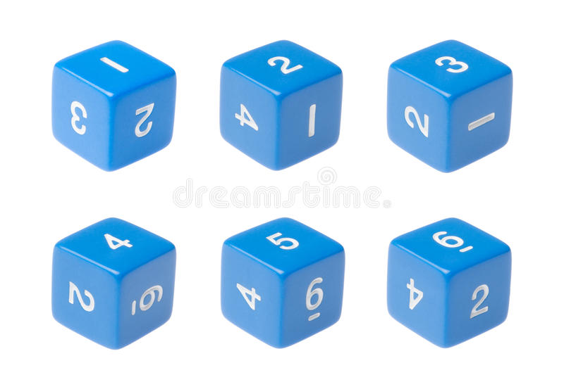 Blue six sided dice for board games stock photography