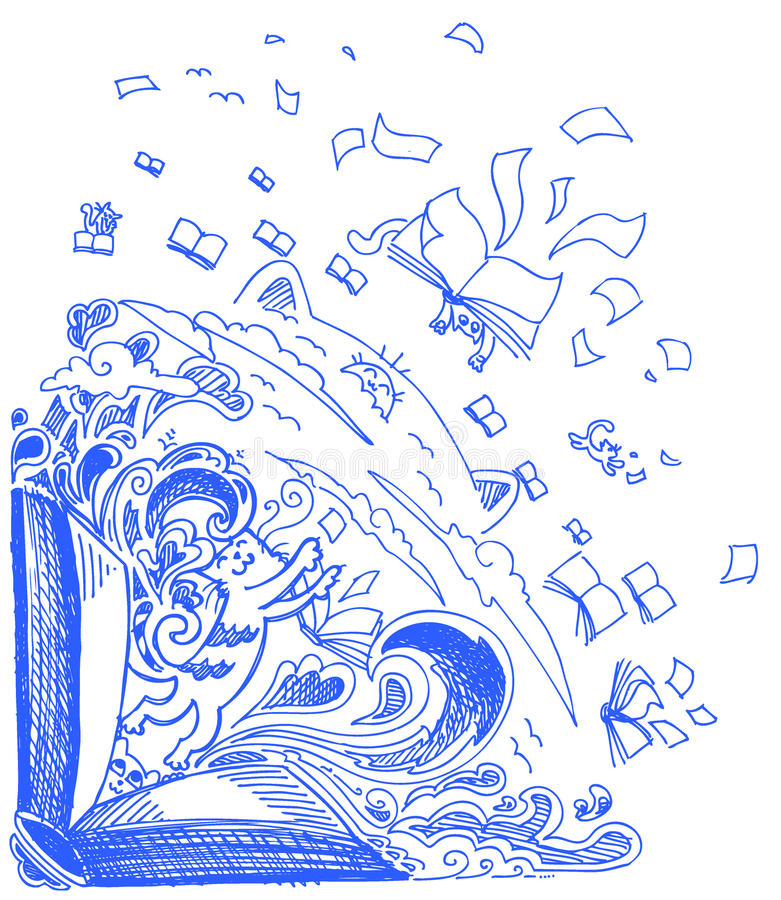 Blue sketch doodles: cats and books royalty free stock photo