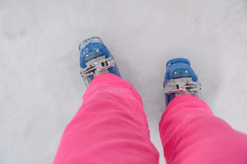 Blue ski boot winter skiing equipment gear protective shoes. Close royalty free stock image