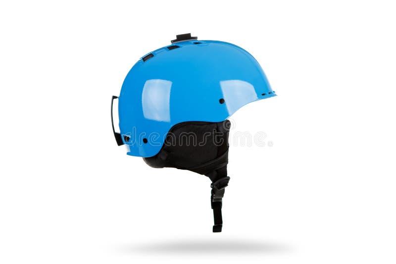 Blue Ski helmet isolated on white background. Blue Ski helmet isolated on white background stock photos