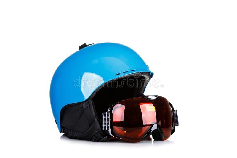Blue Ski helmet and ski goggles isolated on white background.  stock photo