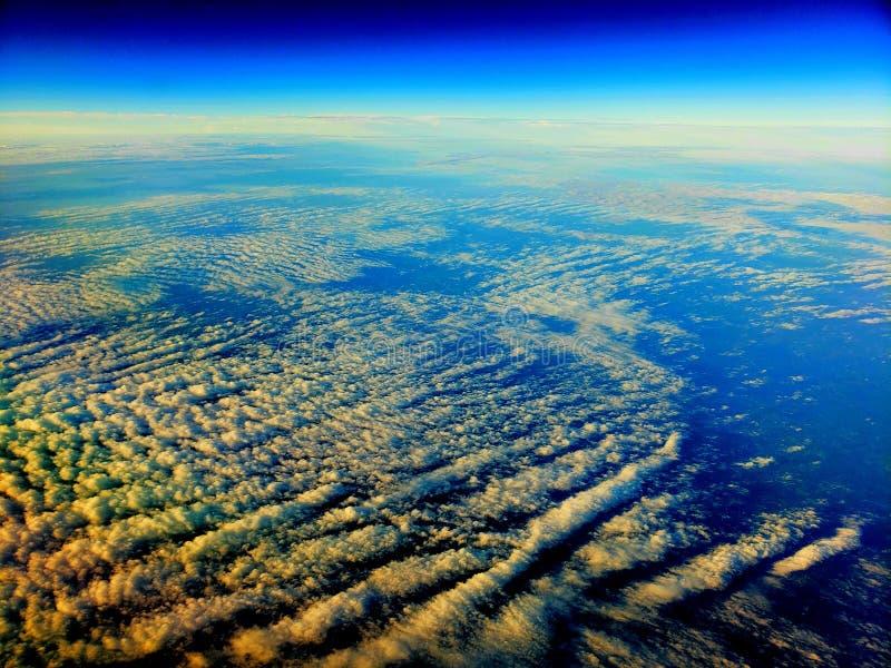 Blue skies over Pacific ocean stock image