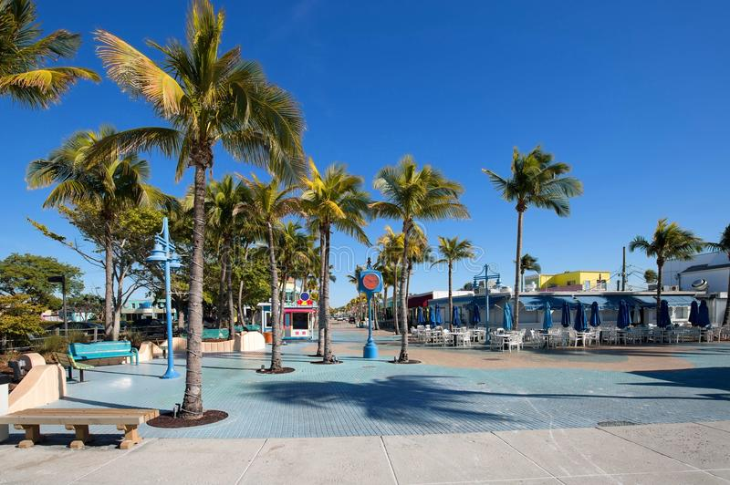 Blue skies over Times Square, the heart of Fort Myers Beach. Times Square at Fort Myers Beach, Florida, USA royalty free stock images