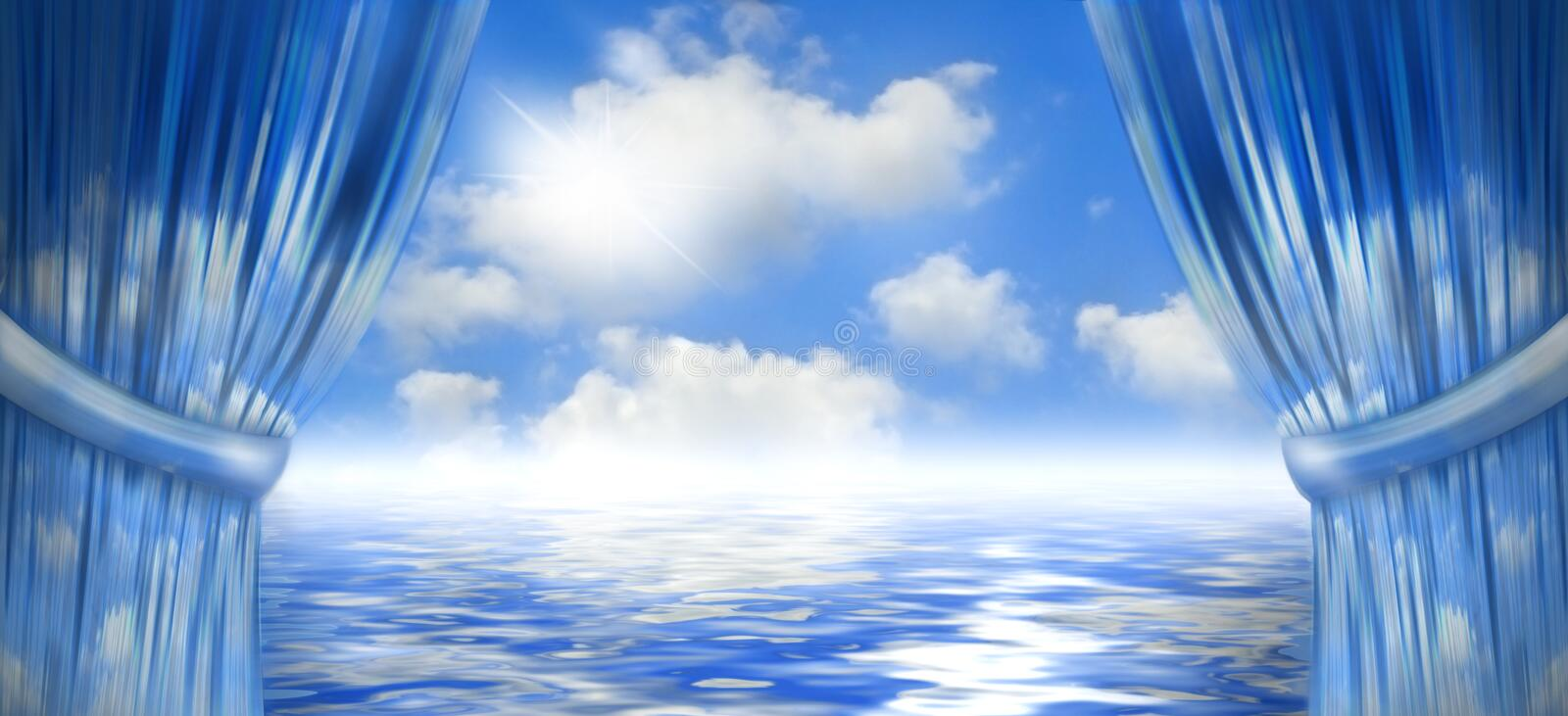 Blue skies and water stock illustration