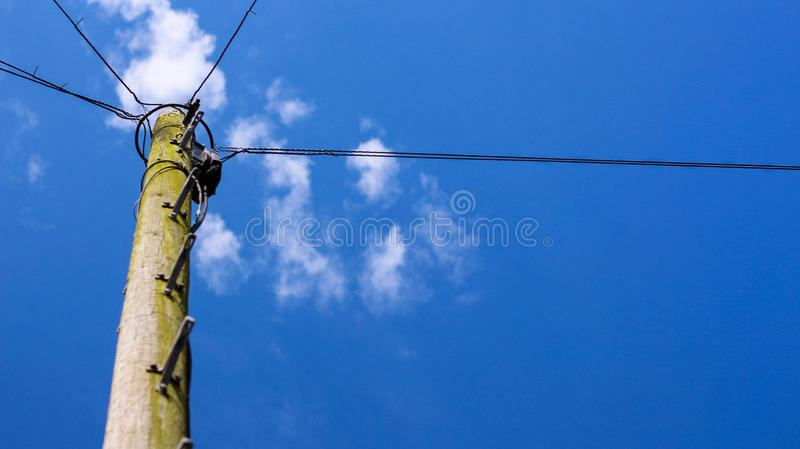 Blue Skies with Wires royalty free stock photo