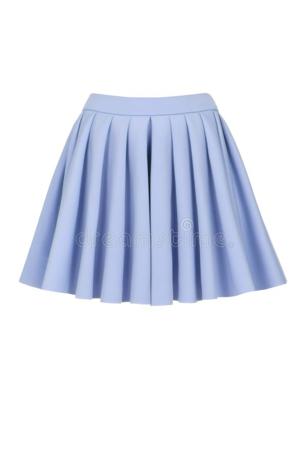 Blue skirt for girl. Isolated on a white background. Blue mini skirt for girl. Isolated on a white background royalty free stock image