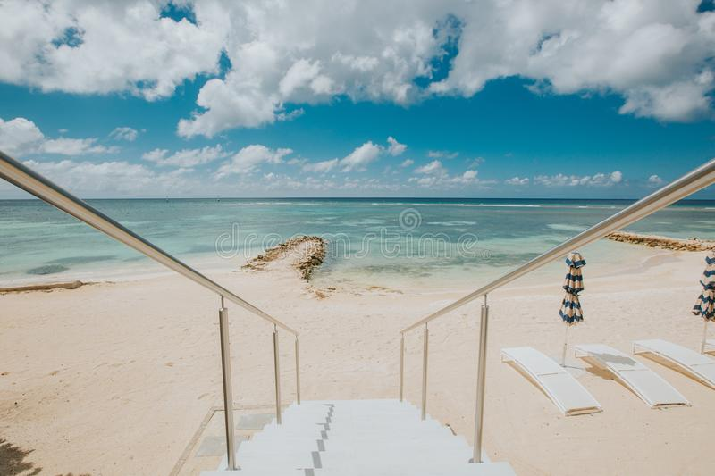 Stairways to a tropical paradise in the Caribbean islands royalty free stock photography