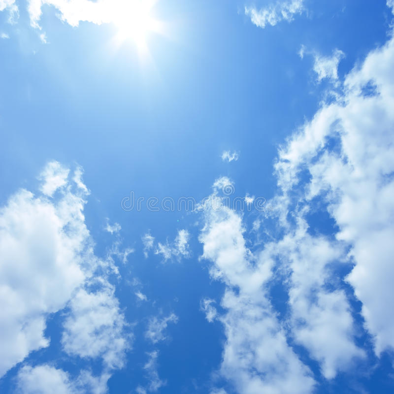 Blue sky. And shining sun royalty free stock photo