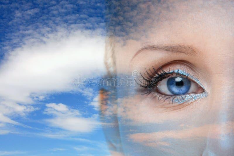 Blue sky. The macro image of the beauty eye stock photography