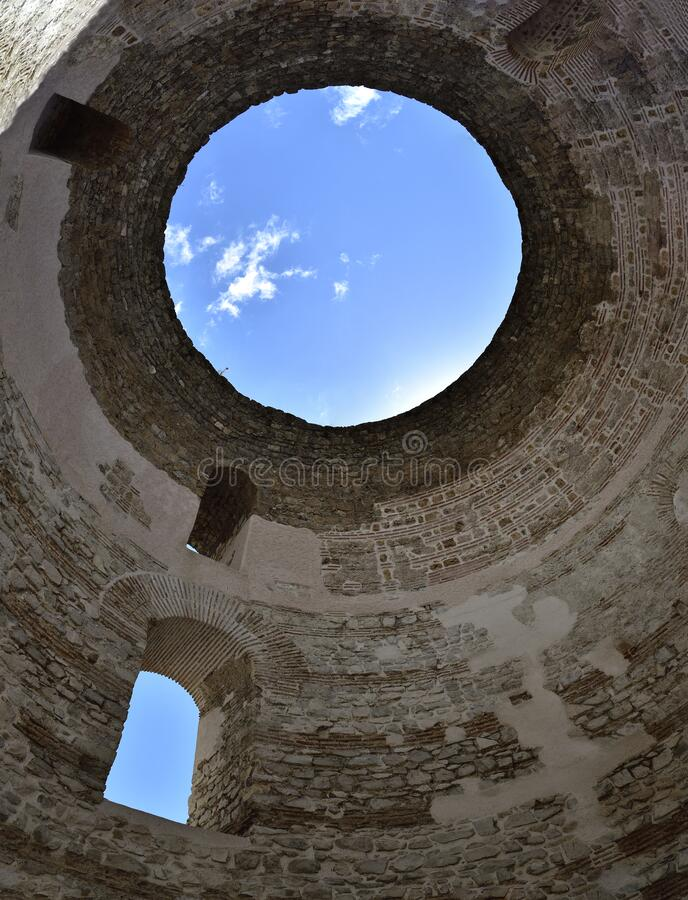 Blue sky above Diocletian Mausoleum Dome in Split, Croatia. The blue sky above Diocletian Mausoleum Dome in Split, Croatia royalty free stock image