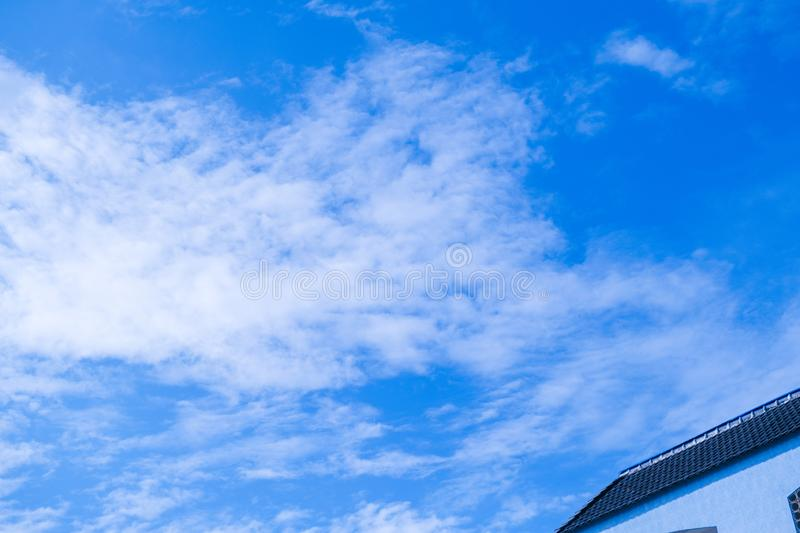 Blue sky and air white clouds background. Abstract background royalty free stock photos